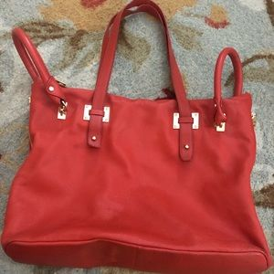 KENNETH COLE large leather tote- orange